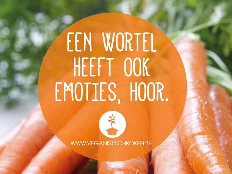 Opmerkingen die veganisten te horen krijgen: Een wortel heeft ook emoties, hoor.