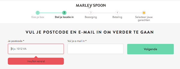 E-mailadres opgeven bij het bestellen van de Marley Spoon box