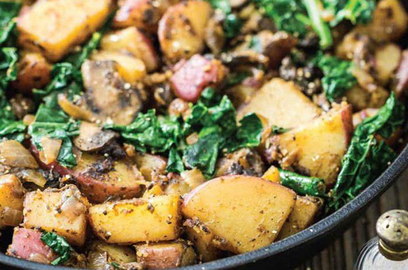 Pangerecht met aardappel, champignons en palmkool