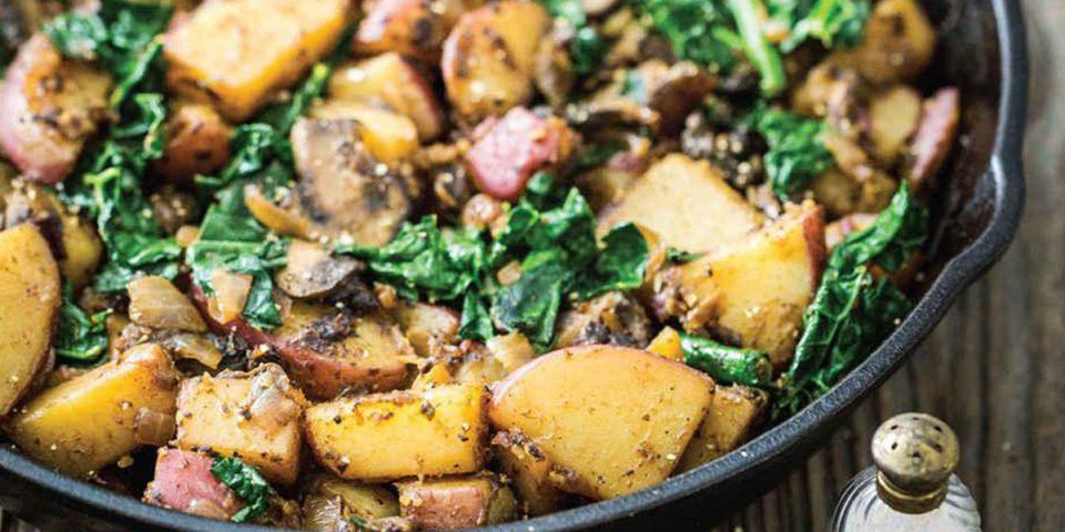 Pangerecht met aardappel, palmkool, champignons (recept)